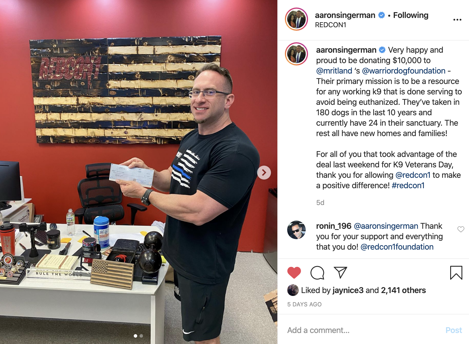 Aaron Singerman's REDCON1 Donates $10,000 To The K9 Warrior Dog Foundation